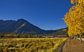 Picture autumn, the sky, grass, trees, mountains, home