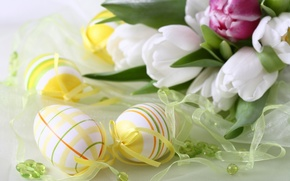 Picture flowers, tape, egg, eggs, Easter, ribbons