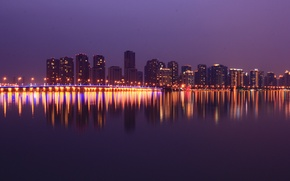 Picture lights, China, Shanghai, skyline, bridge, water, night, colour, reflection, violet, Jiangsu