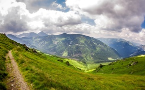 Wallpaper grass, clouds, mountains, stones, trail, slope, Poland, gorge, Tatra National Park, Kasprowy Wierch