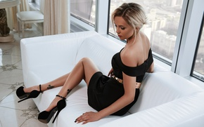 Wallpaper pose, sofa, feet, model, dress, window, shoes, neckline, Roman Polyanchev