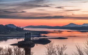 Picture the sky, mountains, lake, tower, Scotland, panorama
