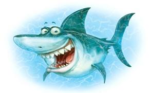 Wallpaper wave, white, water, background, minimalism, shark, teeth, mouth, underwater