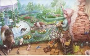 Wallpaper cat, butterfly, wall, paint, dog, picture, Girl, rabbits, pony, fountain, palette, banks, gazebo, brush, flower ...