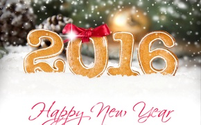 Picture snow, snowflakes, red, glare, holiday, the inscription, New year, Happy New Year, bow, bokeh, 2016
