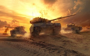 Picture The sky, WoT, Sand, England, Dust, Flame, World Of Tanks, Clouds, World of Tanks, Cromwell, ...