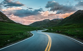 Picture road, mountains, nature, Alaska