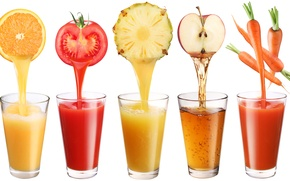 Picture Apple, orange, white background, glasses, pineapple, drinks, tomato, carrots, juices