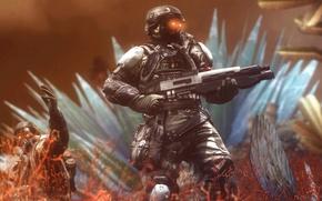 Picture rendering, weapons, soldiers, helmet, killzone, Killzone: Shadow Fall, Shadow Fall, helghast