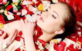 Picture girl, flowers, model, petals