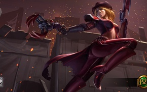 Wallpaper girl, art, Heroes of Newerth, HoN, Gunclaw
