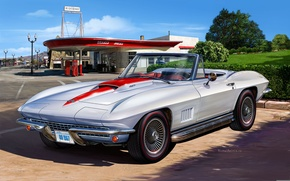Picture figure, silver, convertible, Sting Ray, 1967, sports, Michal Reinis, Corvette 427 Convertible