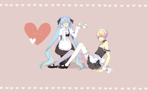 Picture girl, coffee, Cup, guy, vocaloid, Hatsune Miku, Vocaloid, the maid, Kagamine Len