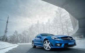 Picture Mercedes, Benz, Blue, AMG, SL63, Matte, Metallic