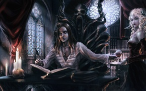 Picture girl, blood, glass, dress, the demon, horns, vampire, the throne, writer, writer, succubus