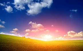 Picture field, the sky, grass, the sun, clouds, dawn