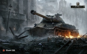 Picture The sky, Home, Smoke, Ruins, Iron, Trunk, The building, Flame, Tank, WoT, World of Tanks, …