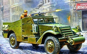 Picture easy, art, soldiers, USSR, shoots, army, WWII, it, system, multipurpose, for, APC, Browning, machine gun, …