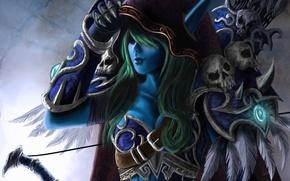 Picture sylvanas, windrunner, skull, hood, art, world of warcraft, arrows, elf, bow