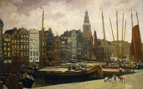 Picture picture, the urban landscape, Georg Hendrik Breitner, The Damrak in Amsterdam