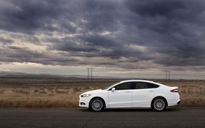 Picture road, clouds, the steppe, Ford, Ford, mondeo, Mondeo