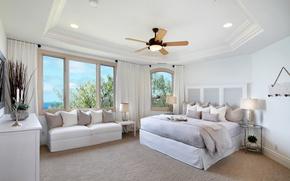 Picture design, bed, pillow, window, the hotel, Design, luxury, Interior, Bedroom