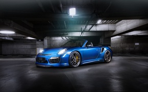 Picture blue, 911, Porsche, convertible, Porsche, Turbo, Cabriolet, turbo, TechArt