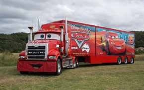 Picture red, pixar, truck, cars, truck, mack, trailer, tractor
