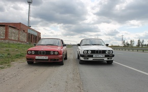 Picture road, BMW, BMW, white, red, E30