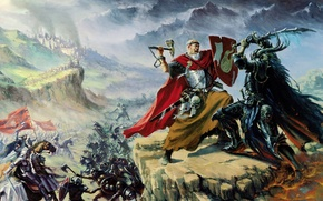 Wallpaper Chaos, castle, captain, Warhammer, sword, Empire, the battle, hammer, shield, army, in the fire