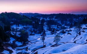Picture winter, snow, trees, landscape, mountains, river, stream, the evening, valley