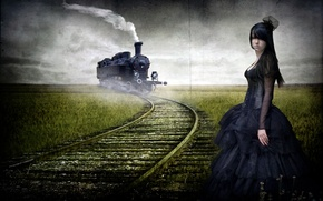 Picture road, girl, style, train