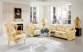 Picture design, style, table, sofa, furniture, picture, window, fireplace, mansion, Design, living room, Interior, Living