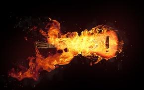 Picture Black, Guitar, Fire