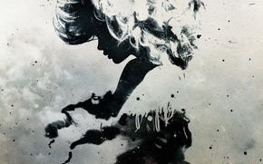 Picture girl, silhouette, Blots