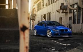 Picture blue, plant, the building, bmw, BMW, blue, e92