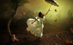 Picture girl, the wind, umbrella