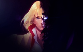 Picture eyes, the dark background, feathers, guy, Howl's moving castle, Howl's Moving Castle, Howl