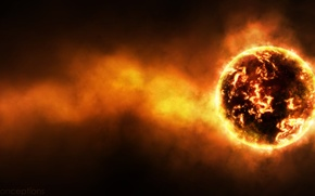 Picture radiation, temperature, cataclysm, the red-hot planet, radiation