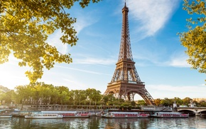 Picture water, the sun, light, trees, bridge, river, France, Paris, boats, ruffle, Hay, Eiffel tower, Paris, …