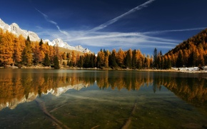 Picture forest, mountains, lake, reflection, the bottom, Italy, Italy, San Pellegrino's Lake