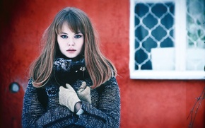 Picture cold, winter, look, girl, face, wall, sweetheart, model, hair, window, lips, brown hair, beautiful, cute, …