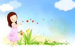 Picture the sky, clouds, flowers, smile, the wind, petals, dress, girl, baby Wallpaper