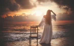 Picture girl, shore, art, chair, surf, Forsaken