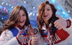 Picture language, eyes, smile, eyes, brunette, figure skating, beautiful, Beautiful, Olympics, long hair, beauty, beautiful, famous …