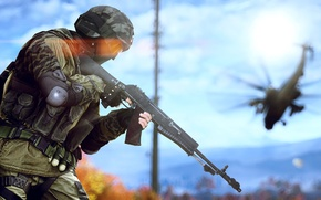 Wallpaper weapons, soldiers, helicopter, equipment, Russian, Battlefield 4
