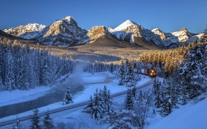 Wallpaper winter, forest, snow, trees, mountains, river, train, Canada, railroad, Albert, Banff National Park, Alberta, Canada, ...