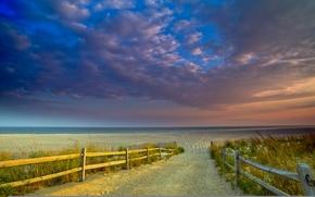 Picture sea, beach, landscape, sunset