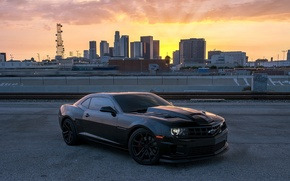 Picture sunset, black, Chevrolet, black, chevrolet, camaro ss, Camaro