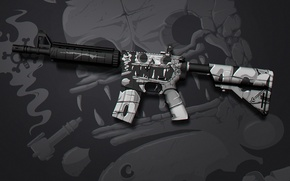 Picture jaw, skull, tube, paint, workshop, cs go, custom paint job, m4a4, stone ace